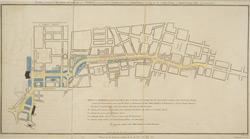 Plan presented to the House of Commons, of a street proposed from Charing Cross to Portland Place, leading to the Crown Estate in Mary-le-Bone Park